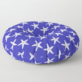Starfishes (White & Navy Blue Pattern) Floor Pillow