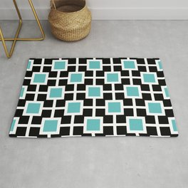Classic Hollywood Regency Pattern 221 Turquoise and Black Rug
