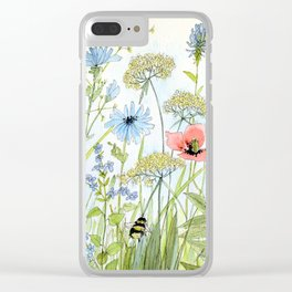 Floral Watercolor Botanical Cottage Garden Flowers Bees Nature Art Clear iPhone Case
