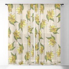Floral Bliss - II - Neutral Palette  Sheer Curtain