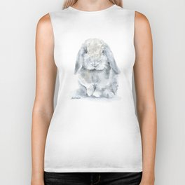 Mini Lop Gray Rabbit Watercolor Painting Biker Tank