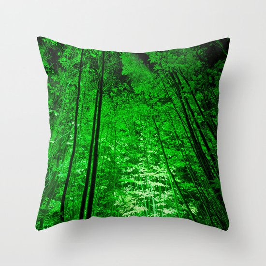 Electric Forest Green Throw Pillow
