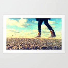 Windy beach Art Print