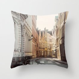 Cobbled Streets of Bruges Throw Pillow