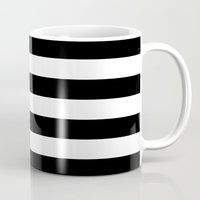 stripe Mugs featuring Stripe Black & White Horizontal by Beautiful Homes