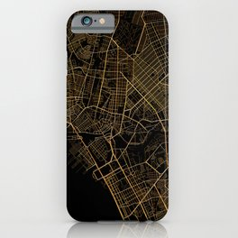 Black and gold Manila map iPhone Case