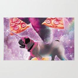 Space Pizza Sloth On Pug Unicorn On Waffles Rug