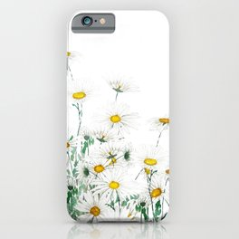 white margaret daisy horizontal watercolor painting iPhone Case