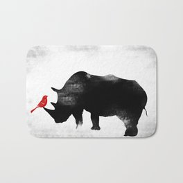 Rhino with bird Bath Mat