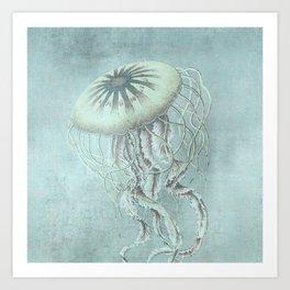 Jellyfish Underwater Aqua Turquoise Art Art Print