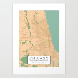 Chicago Map - Color Art Print