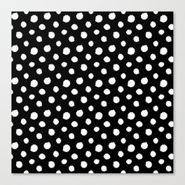 Minimal - white polka dots on black - Mix & Match with Simplicty of life Canvas Print