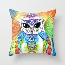 Chakra Owl Throw Pillow