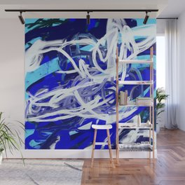 Blue & White Abstract Wall Mural
