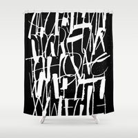 calligraphy Shower Curtains featuring Calligraphy Texture by Marco Campedelli