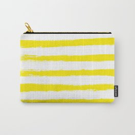 Sunny Yellow STRIPES Handpainted Brushstrokes Carry-All Pouch