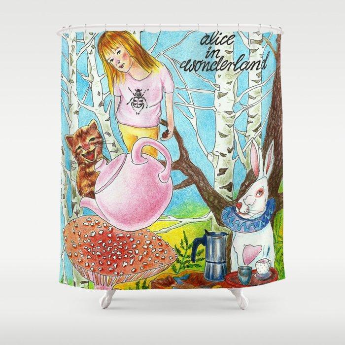 Alice In Wonderland Shower Curtain By Kejla