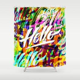 Hello Hello Hello Shower Curtain