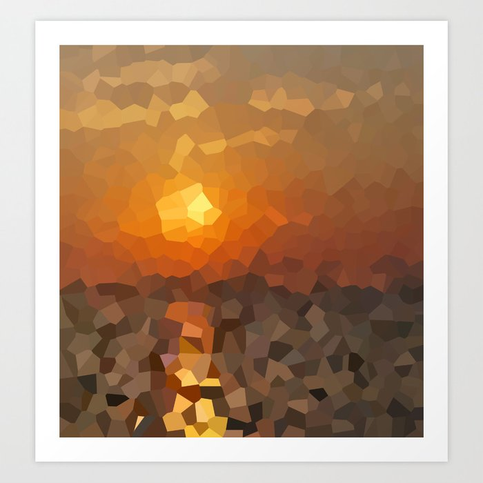 Sunday's Society6 | Pixel art print sunset