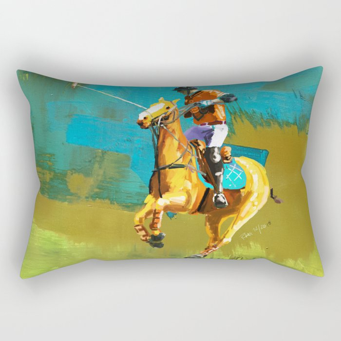 poloplayer abstract turquoise ochre Rectangular Pillow