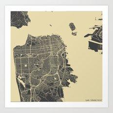 San Francisco map yellow Art Print