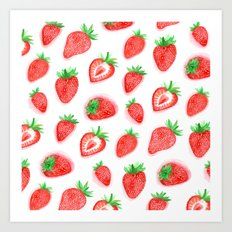 Watercolour Strawberries Art Print