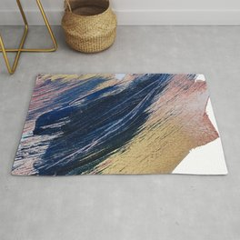 Rise: an abstract mixed-media landscape in blue pink and gold by Alyssa Hamilton Art Rug
