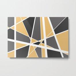 Geometric Triangles Mikado - grey yellow Metal Print