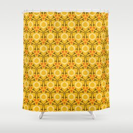 Autumn leaves grid seamless pattern. Shower Curtain