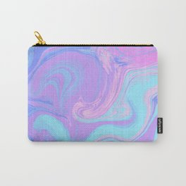 Ultra Violet Marble. Digital Suminagashi Liquid Color Abstraction Carry-All Pouch