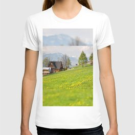 Bucolic spring meadow and house T-shirt