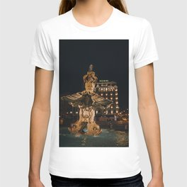 Photo of the Triton Fountain on Piazza Barberini with Hotel Bernini during an Evening in Rome, Italy | Fine Art Colorful Travel Photography |  T-shirt