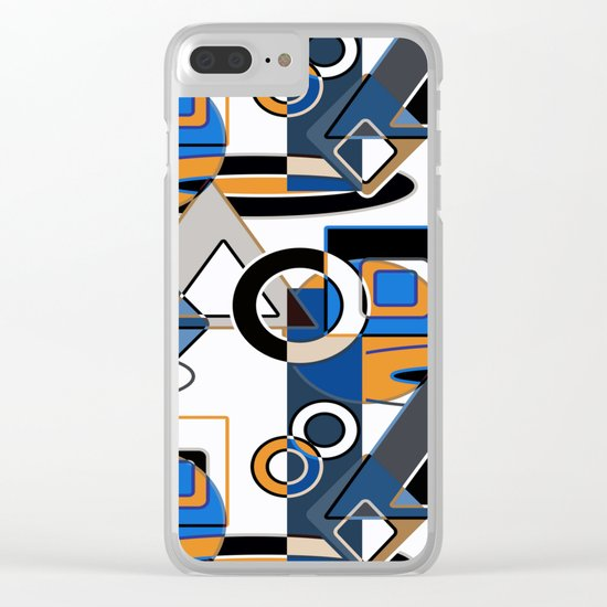 Abstract pattern with bold geometric shapes . Clear iPhone Case