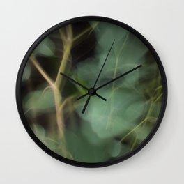 Abstract Eucalyptus Leaves on Black Background-Fleur Blur Series Wall Clock