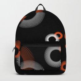 Orange White Starburst Pattern Black Backpack