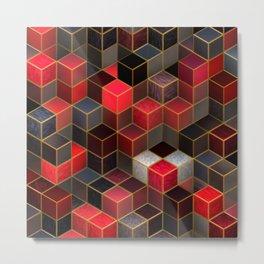 Cubes in Red Metal Print