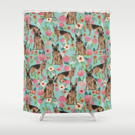 German Shepherd florals gifts for the dog lover dog breeds pet portrait dog art service dogs furbaby Shower Curtain