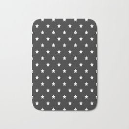 White stars pattern on black background Bath Mat