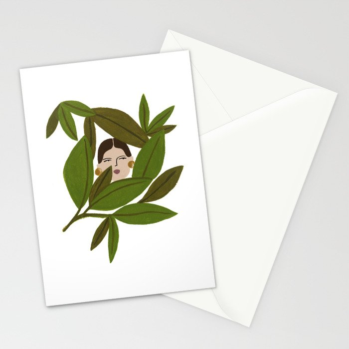 portrait in the leaves stationery cards by isabellefeliu society6