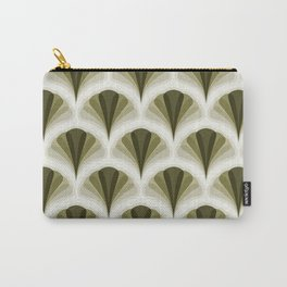 Olive Green and Ivory Retro Peacock Design Pattern Carry-All Pouch
