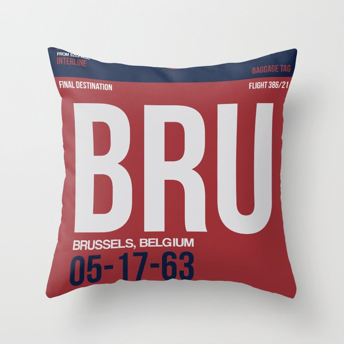 BRU Brussels Luggage Tag 2 Throw Pillow