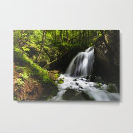 Magical waterfall in enchanting green forest Metal Print