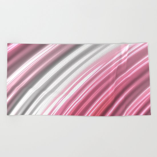 Pink Candy Stripes Beach Towel