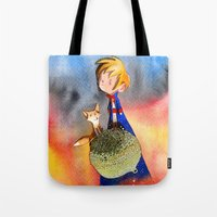 the little prince Tote Bags featuring Little Prince by Jose Luis Ocana