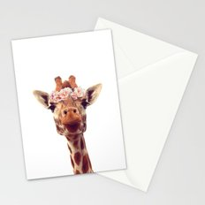 Flower crown giraffe Stationery Cards