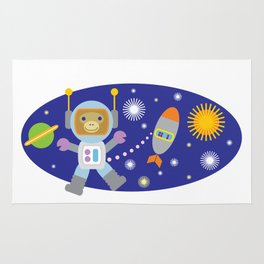 Space Chimp Astronaut Monkey Rug