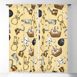 Swashbuckling Pirate Pattern on Neutral Blackout Curtain