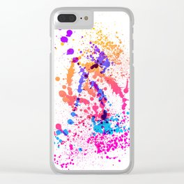 Energetic Expressive Multicolor Paint Splatter Clear iPhone Case