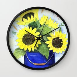 Watercolor sunflower bouquet in bucket Wall Clock