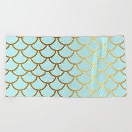 Aqua Teal And Gold Foil MermaidScales - Mermaid Scales Beach Towel